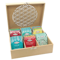 Te æske inddelt i rum til tebreve - Flower of Life tea box